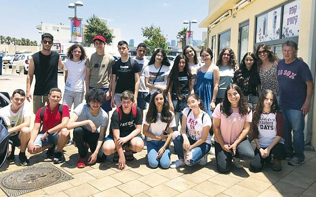 The Israeli kids met in Tel Aviv before the trip. Naor Mor is in the back row at the left, ad Dana Dahan is second from the right in that row.
