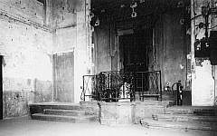 The war-ravaged interior of the synagogue in Brno.