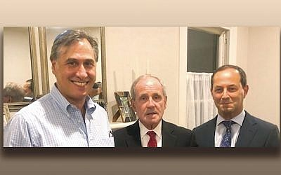 Avi Samuels, left, with Senator Jim Risch and Dr. Richard Schlussel. (Courtesy Norpac)