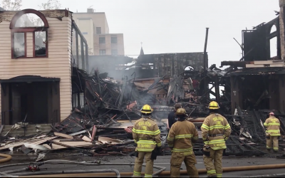 The Adas Israel Congregation in Duluth, Minn., burned down of yet unknown causes, Sept. 9, 2019. (Duluth News Tribune Screenshot)