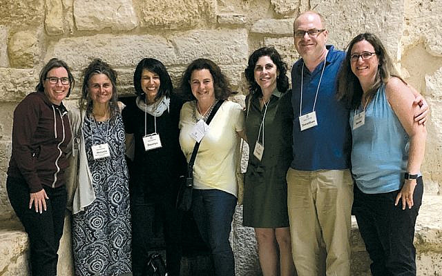 Tikvah Weiner, third from right, and members of her Encounter group met with Palestinians during their trip to the West Bank and East Jerusalem.