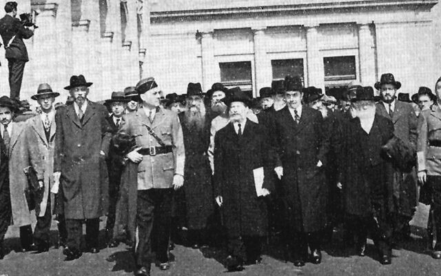 American rabbis march to the White House in 1943 to plead for European Jews.