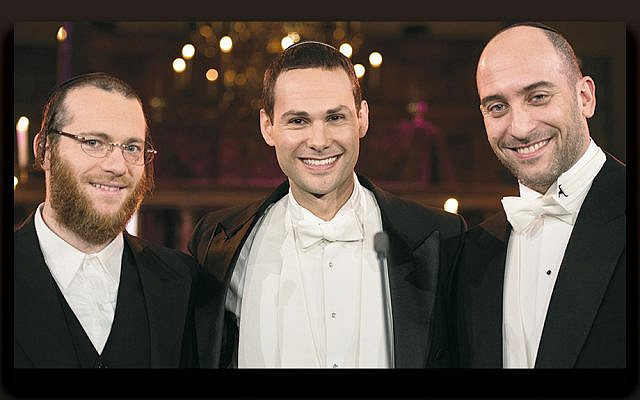 From left, Yaakov Lemmer, Azi Schwartz, and Netanel Hershtik are the three New York Cantors.