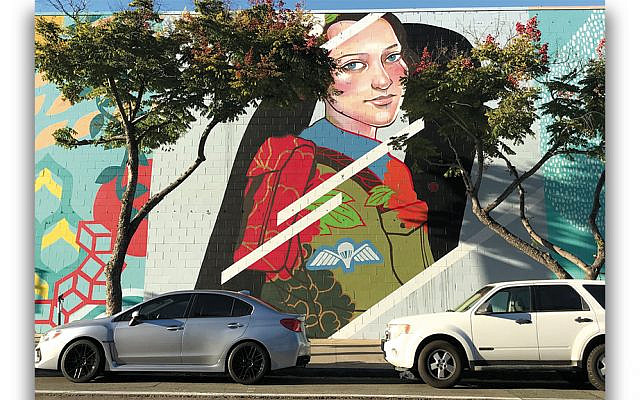 Julie Robertson painted a mural of Hannah Senesh in downtown San Diego. (Photos Courtesy of Julie Robertson)