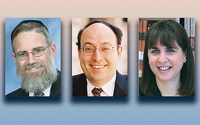 Rabbi Yaacov Neuberger, left, Rabbi Nathaniel Helfgot, and Dean Rachel  Friedman