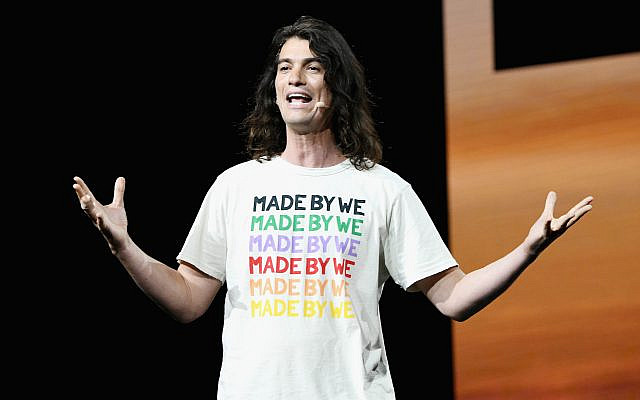 Adam Neumann speaks at a WeWork event at the Microsoft Theater in Los Angeles, Jan. 9, 2019. (Michael Kovac/Getty Images for WeWork)fornia.