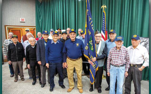 Members of James Platt JWV Post #651 were joined by other community veterans who posted colors at the Veterans Recognition program sponsored by Temple Beth Sholom and the Fair Lawn Jewish Center/CBI. (Courtesy TBS)