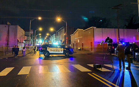 The scene near the shootout between two gunmen and police at a kosher supermarket in Jersey City. (Josefin Dolsten/JTA)