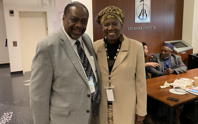 Rabbi Capers Funnye, left, and Martha Leah Williams at the Jewish Africa Conference in New York, Jan. 29, 2019. (Josefin Dolsten)