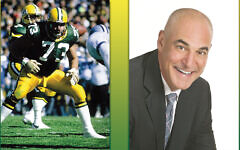 Alan Veingrad, left, as a lineman for the Green Bay Packers and, right, as a businessman and speaker. (Courtesy JCCOTP)