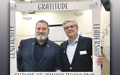 Speaker Kevin McMahon and the past president of the Rockland Jewish Federation, Robert Silverman. (Courtesy Rockland Federation)