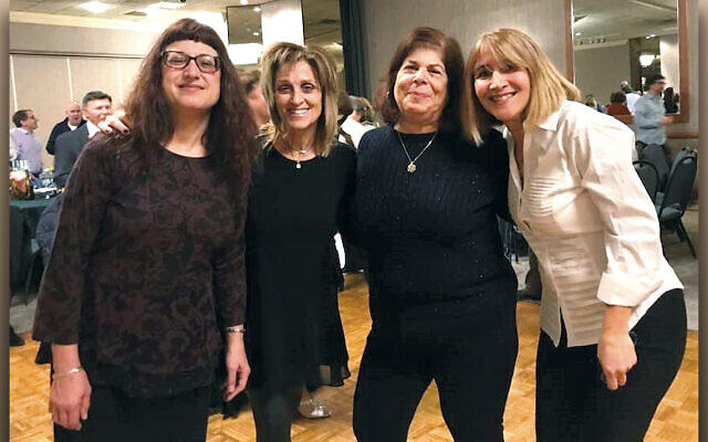 Stacey Benjamin, Tracey Cohen, Liz Schwarz, and Denise Holzsager at  the cabaret. (Photo courtesy Temple Beth Sholom)