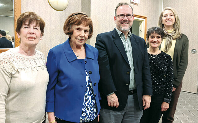 From left, Jersey Hills NCJW vice presidents Sheila Packer and Ruth Spiegel, Rabbi Dr. David Fine, and Jersey Hills NCJW co-presidents Eileen Janowsky and Maxine Harelick.
