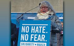 Dr. Ora Horn Prouser addresses the solidarity march on January 8. Dr. Prouser is keynote speaker for Sweet Tastes of Torah.
