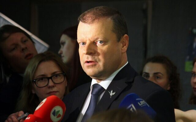 Prime Minister Saulius Skvernelis of Lithuania, seen in 2016, heads the committee drafting legislation declaring that neither Lithuania nor its leaders participated in the Holocaust. (Petras Malukas/AFP via Getty Images)