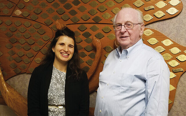 Adva Vilchinski joins Harry Melzer, chair of adult education at TBS. (Photo courtesy Temple Beth Sholom)