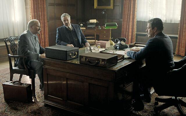 Jonathan Tafler as Chaim Weitzman, Simon Mattacks as Moshe Shertok, and Oliver Senton as Anthony Eden meet in the Foreign Office in London. (Oxford Films)