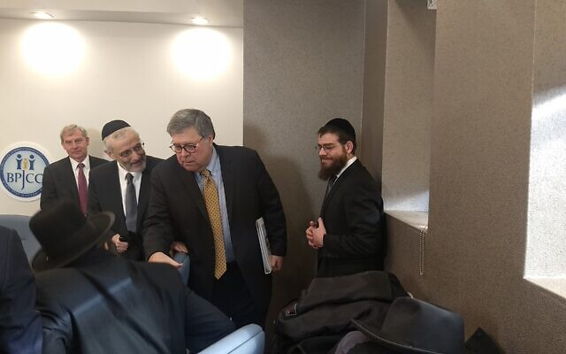 U.S. Attorney General William Barr greets Orthodox leaders in Brooklyn prior to meeting with them, Jan. 28, 2020. (Ben Sales)