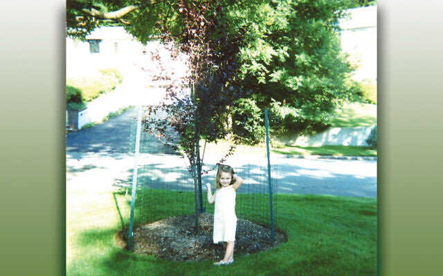 Lindsey Rachel Weiss, granddaughter of Gail and Jonathan Lazarus, stands beside the Thundercloud plum planted in her honor on their West Orange lawn in this 2000 photo.