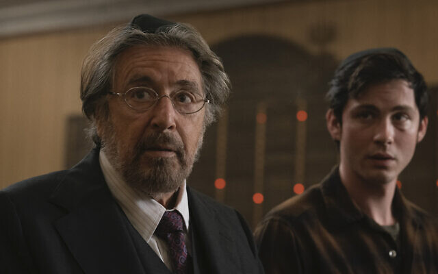 "Al Pacino, left, and Logan Lerman are Jews out for revenge in Amazon Studios' ""Hunters."" (Christopher Saunders)"
