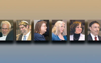Rabbi David Berkman, left, Rabbi Randall Mark, Rabbi Joyce Newmark, Rabbi Debra Orenstein, Rabbi Amy  Roth, and Rabbi Jeffrey Rubenstein
