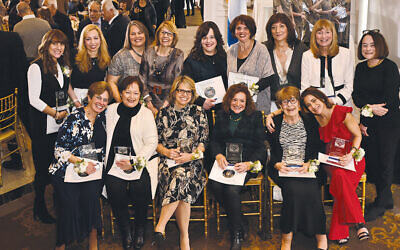 From the top left, honorees are Yocheved Weinbach, Jane Sherwood, Kathryn Samalin, Leslie Goldress, Chany Kotlarsky, Haren Haber, Sharon Aach, Marilyn Fellows, and Carol Schiller. From the bottom left, they are Ruth Pernick, Ruth Mindick, Beth Dinowitz, Diane Fink, Estelle Eisenkraft, and Elayna Kirschtel. (Jeff Karg)