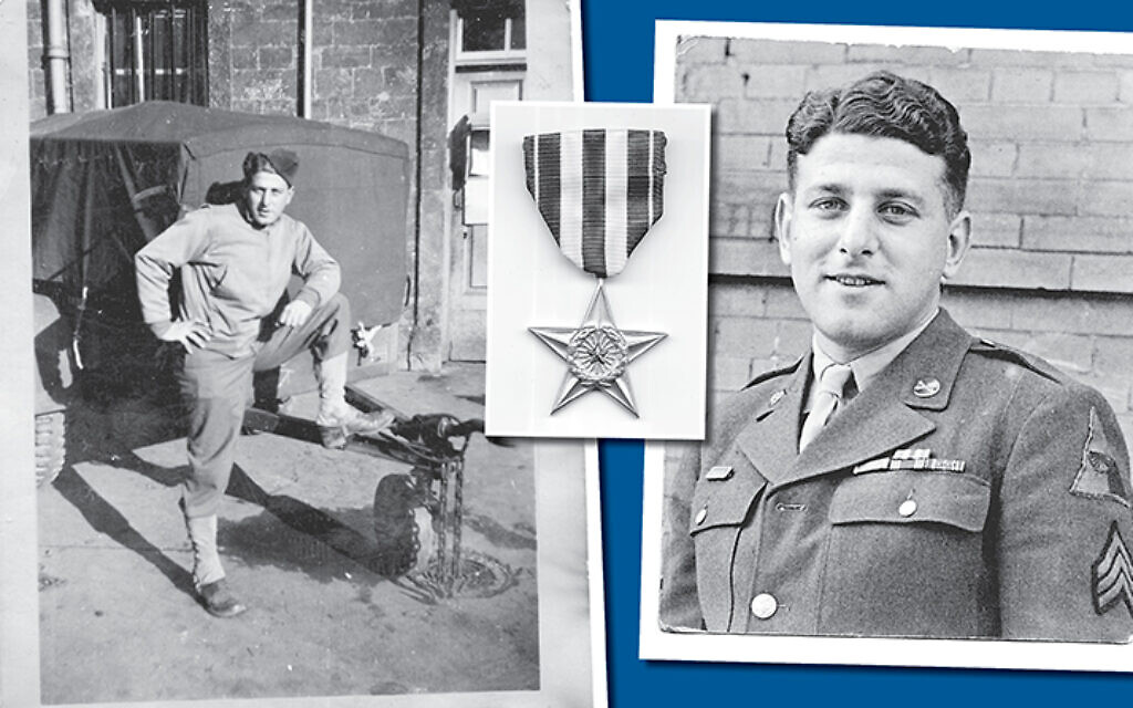 From left, Reuel Dankner is at ease during his training for D Day in England, 1943; the Silver Star General Patton gave the young solider in 1943; Dankner is still in uniform right after the war ended, 1945.