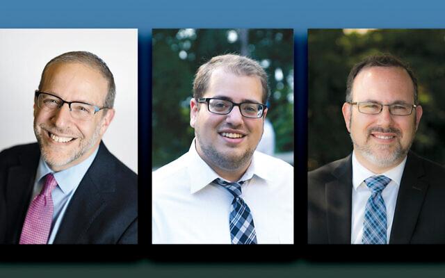 Rabbi Jacob Blumenthal, left, Eric Leiderman, and Rabbi David Fine