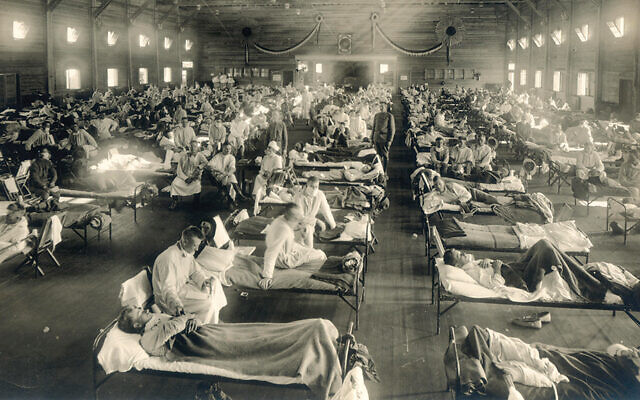 A hospital at Camp Funston, Kansas, during the Spanish flu epidemic in 1918. (New Contributed Photographs Collection, Otis Historical Archives, National Museum of Health and Medicine.)