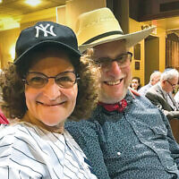Janice Stein and Jonathan Lockman, congregants at Temple Beth Sholom in Fair Lawn, are in costume for the shul's Megillah reading. (Courtesy TBS)