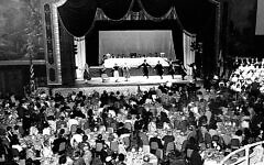 Crowds gathered for the arts-rich seder at the Waldorf Astoria in the 1950s and '60s. (Photos courtesy Workers Circle)
