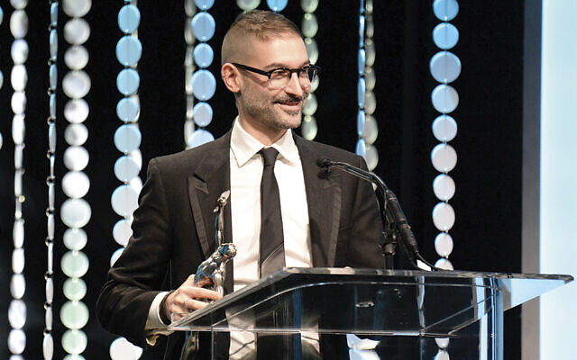 "Brian Kates accepts the 2015 American Cinema Editors award for ""Bessie."" (Brian Kates)"