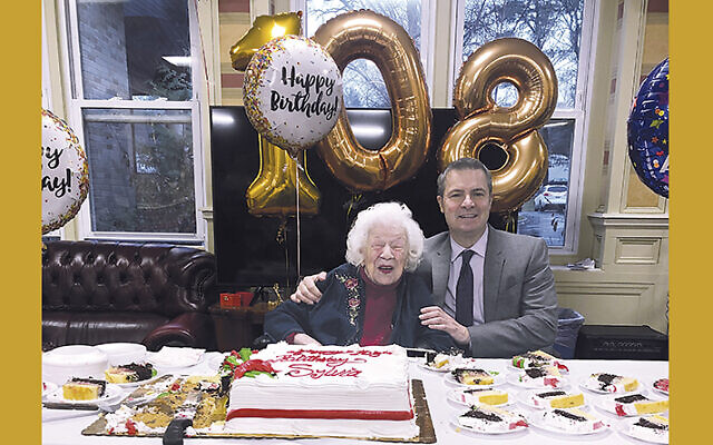 Sylvia Goldsholl celebrates turning 108 with Dr. Tim Giancarlo, president of the board of the Allendale Community for Senior Living.
