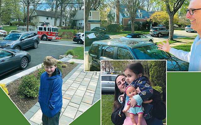 Clockwise from left, birthday boy  Joseph Winslow smiles as his birthday parade passes by; Beth Sholom's birthday parades aren't only for kids; here, the shul celebrates its rabbi, Joel Pitkowsky; Congregation Beth Sholom of Teaneck marks Sima Cohen's fourth birthday as Sima and  her mother, Leah, watch.
