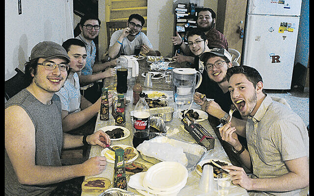 Darius and his friends at Yeshivat Migdal Hatorah; Darius is on the right, second from the last, behind the kid in the baseball cap.