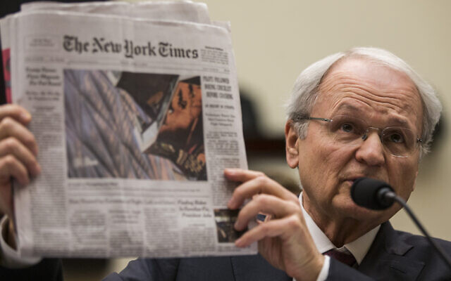 Mort Klein, president of the Zionist Organization of America, testifies before a House Judiciary Committee hearing discussing hate crimes and the rise of white nationalism, April 9, 2019. (Zach Gibson/Getty Images)