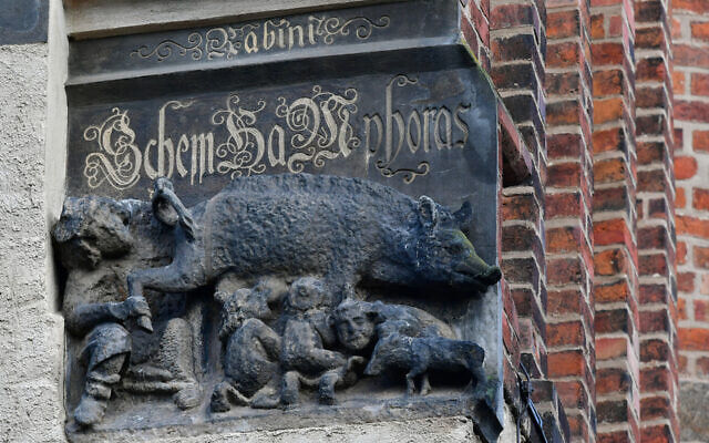 A Judensau sculpture on display on the outer wall of the town church of St. Marien in Wittenberg, Germany, Feb. 4, 2020. (Hendrik Schmidt/picture alliance via Getty Images)
