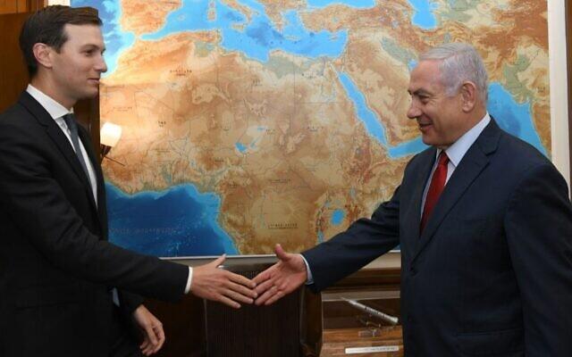White House senior adviser Jared Kushner and Israeli Prime Minister Benjamin Netanyahu meet in Jerusalem, July 31, 2019. (Kobi Gideon/GPO)