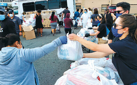 The Community Food Bank of New Jersey organized emergency food distribution in Fairview, with the help of many local governmental agencies, towns, and volunteer groups. (Bergen County Prosecutor's Office)