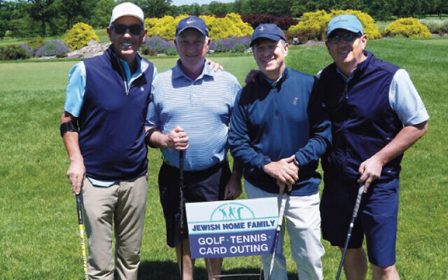 From left, Howard Chernin, Glenn Kissler, Michael Hochman, and David Lazarus played golf last year for the Jewish Home Family's spring fundraiser.