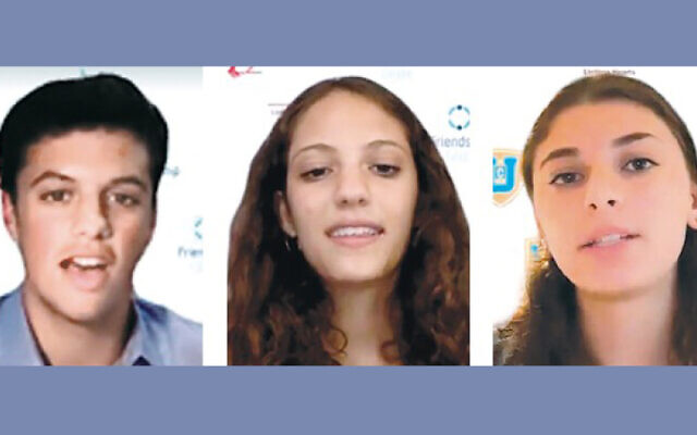 Jack Silver of Woodcliff Lake, a sophomore at Pascack Hills High School; Hailey Migdal of River Vale, a sophomore at Pascack Valley High School; and Sophie Sklar of Ridgewood, a junior at Bergen Academies, were among the teen speakers. (Photos courtesy Chabad)