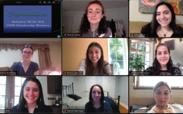 Recipients of NCJW 2020 scholarships, on Zoom, from top left,  Rachel Cohen and Abigail Stern; Sidney Birnberg, Emma Leipsner, and Olivia Fornasteri in the middle row; and Lily Cohen, Naomi Meininger, and Bari Hayden in the bottom row. (NCJW BCS)