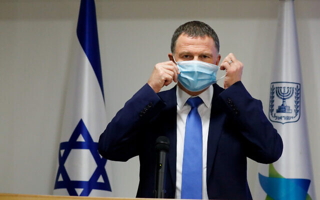 Israeli Health Minister Yuli Edelstein at a news conference about the coronavirus in Jerusalem, July 6, 2020. (Olivier Fitoussi/Flash90)