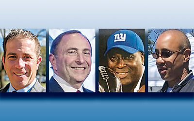 Ira Robbins, left, Gary Bettman, O.J. Anderson, and John Starks (Photos courtesy Jewish Home Family)