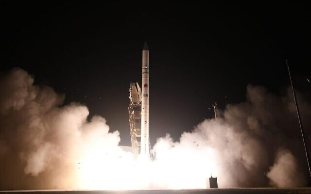 The Ofek 16 reconnaissance satellite blasts off into space from a launch site in central Israel on July 6, 2020. (Israel Ministry of Defense Spokesperson's Office)