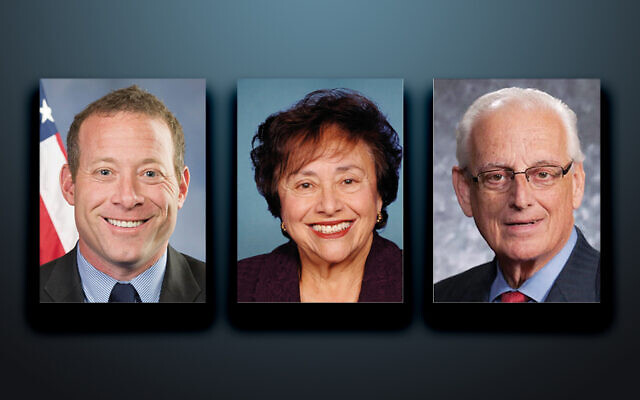 Josh Gottheimer, left, Nita Lowey, and Bill Pascrell