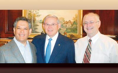 Moshael Straus, left, Senator Menendez, and Dr. Ben Chouake. (Courtesy Norpac)