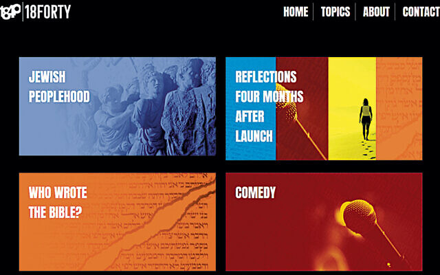 This page, from 18Forty.org's website, shows the topics it explores.