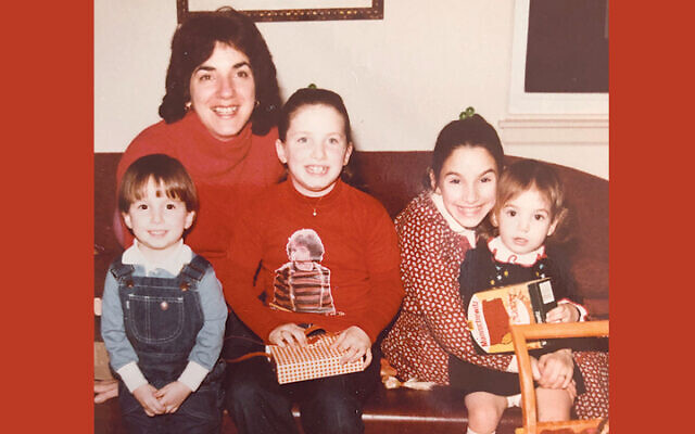 Tzivia Bieler with her four young children in 1981. From left, they're Shmuel, Debra, Lara, and Dena.