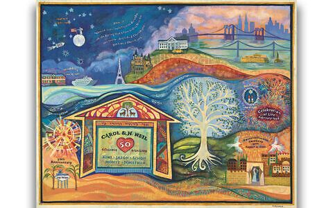 Lori Loebelsohn's painting that describes the first 50 years of Carol and Neil Broder's marriage.